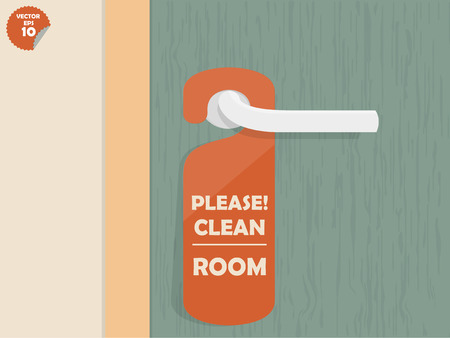 door lock hanging room tag with text shown please clean room,room tag design