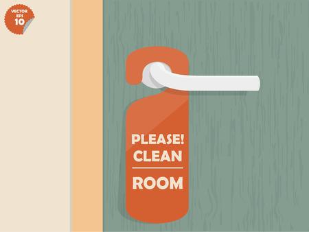 serrure de porte salle des pendus étiquette avec le texte affiché à manger s'il vous plaît propre, étiquette de pièce de conception Vecteurs