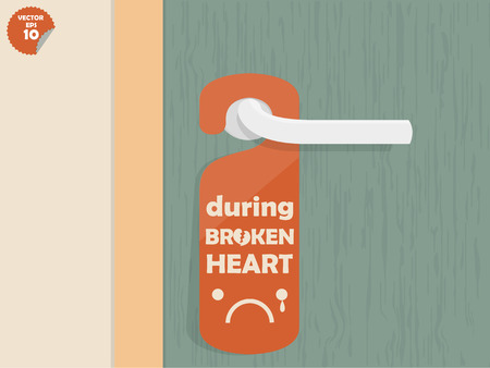 text room: door lock hanging room tag with text shown during broken heart,room tag design