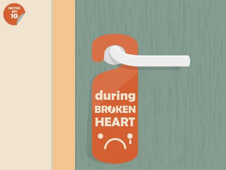 door lock: door lock hanging room tag with text shown during broken heart,room tag design