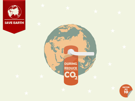 greenhouse gas: the earth with door handle and hanging room tag with text shown during reduce carbon dioxide or CO2