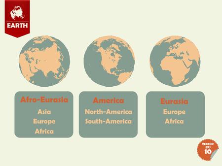 eurasia: set of earth that shown afro eurasia side,america side and eurasia side