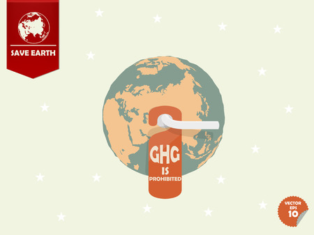 greenhouse gas: the earth with door handle and hanging room tag with text shown green house gas or GHG is prohibited