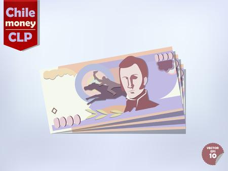 chilean: Chilean peso money paper vector design, chile money concept
