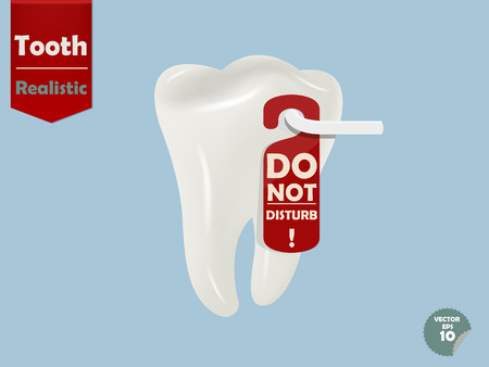 door handle: realistic tooth with door handle hanging do not disturb tag, dental health concept Illustration