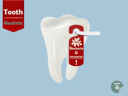 door handle: realistic tooth with door handle hanging bacteria is prohibited tag, dental health concept