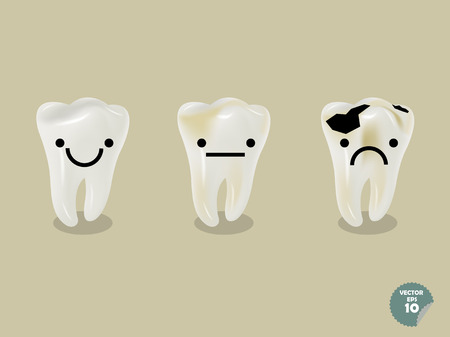 decayed: set of emotion cartoon tooth including healthy tooth and decayed tooth