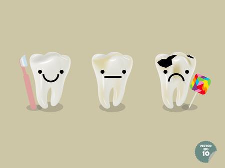 dientes con caries: conjunto de diente realista incluyendo diente sano con el cepillo de dientes cariados y con el lollipop