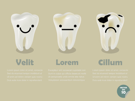 decayed: set of realistic tooth including healthy tooth and decayed tooth, dental health info graphics