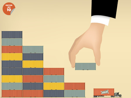 vector illustration of logistics concept design, loading cargo containers to cargo truck by business man hand