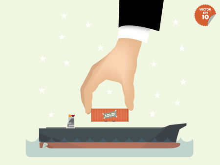 oversea: vector illustration of logistics concept design, loading cargo containers to cargo ship on the sea by business man hand