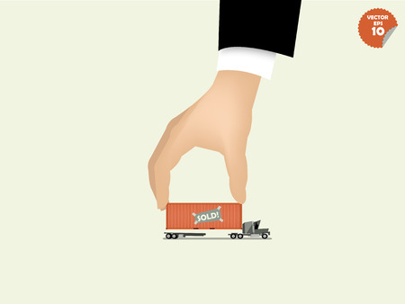 global logistics: vector illustration of logistics concept design, loading cargo containers to cargo truck by business man hand