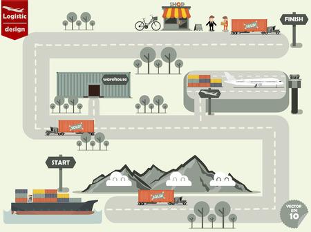 aereo: illustrazione vettoriale di concetto di logistica disegno, trasporto consegna di tempo per cliente per nave cargo e camion carico