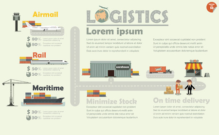 illustration vector of logistics concept info graphics, shipping on-time delivery by airmail, maritime, cargo train and cargo truck