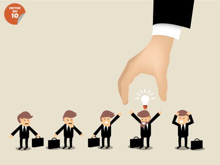 talent management: recruitment concept, business man choosing worker who has idea from group of business people.