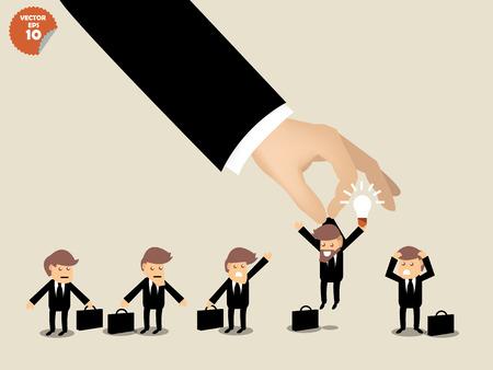 workers: concepto de contrataci�n, hombre de negocios elegir trabajador que tiene idea de grupo de gente de negocios.