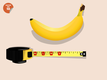 penis concept, ripen yellow banana measured by measurement tape, comparable to man penis size as short, small medium, average, long,large size and extra large size