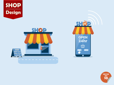 shop online: online store concept, comparison between regular store and online store,store with awning and smartphone online shop with awning