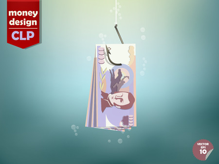 dupe: Money concept illustration, Chilean peso money paper on fish hook