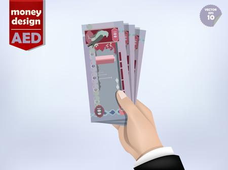 efectivo: Emiratos Árabes Unidos dirham papel moneda en la mano, los Emiratos Árabes Unidos el dinero efectivo en la mano Vectores