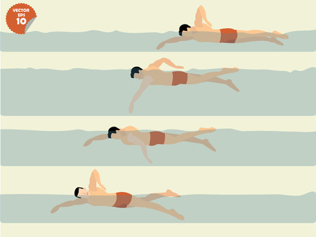 illustration vector of free style swimming, swimming design Ilustracja