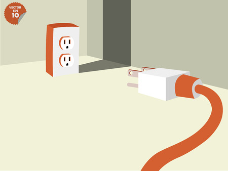 plug socket: plug stalemate the socket into the conner of room, energy consumption concept Illustration