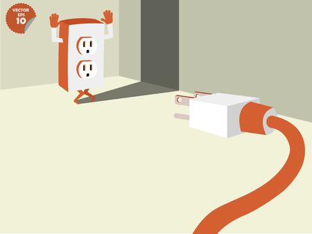 energy consumption: plug stalemate the socket into the conner of room, energy consumption concept Illustration
