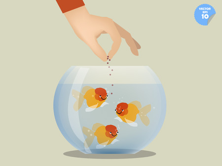 goldfish jump: man feeding goldfish in bowl, pet concept