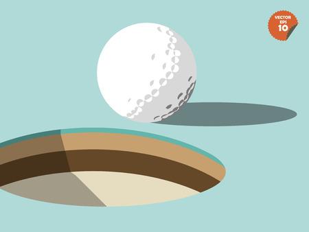 Golf ball: pelota de golf en el borde de dise�o del agujero, dise�o de campos Vectores