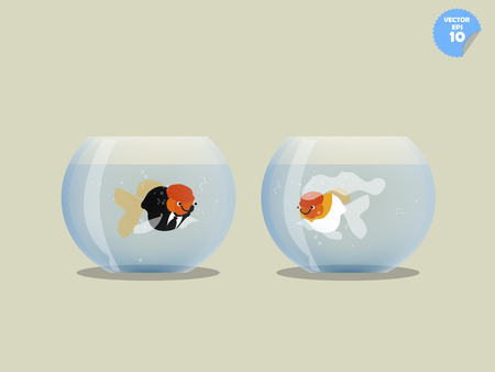 goldfish jump: couple goldfish dress with groom and bride in separated bowl,isolated goldfish in bowl, married concept Illustration