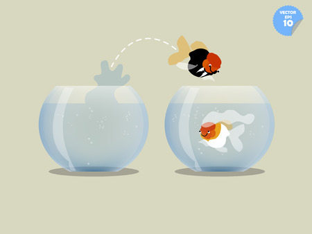 goldfish jump: A goldfish with groom dress jumping out of the fishbowl to another one where bride goldfish be there, married concept Illustration