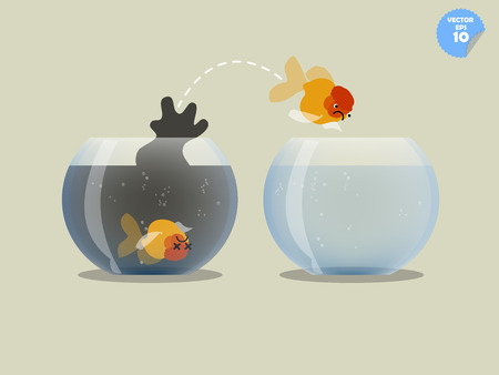 goldfish jump: A goldfish jumping out of the waste water fishbowl to another one where fill with fresh water, improvement concept
