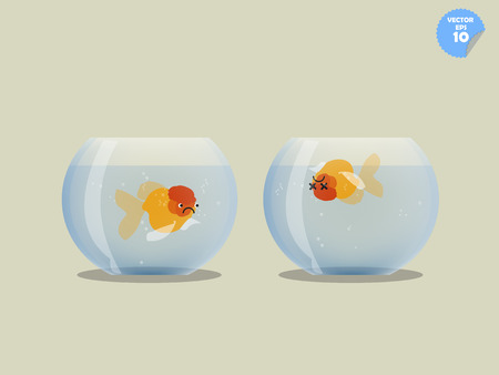 goldfish jump: goldfish in bowl is watching dead goldfish in another bowl