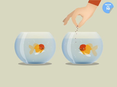 goldfish jump: man feeding goldfish in bowl, unfair concept