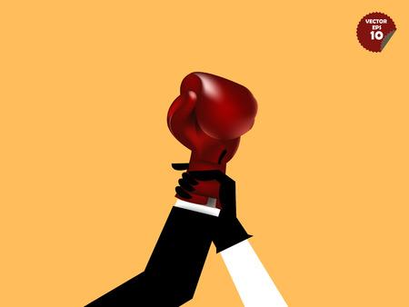 guantes de boxeo: declarando ganador hombre de negocios, �rbitro de boxeo levantar la mano del hombre de negocios con los guantes de boxeo