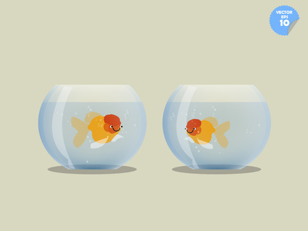 goldfish jump: couple goldfish in separated bowl,isolated goldfish in bowl, friendship concept