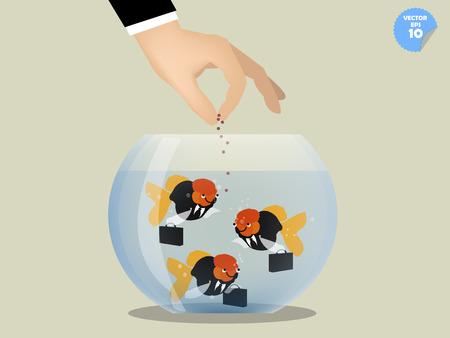 bowls: business man feeding goldfish that dress business suit, benefit concept