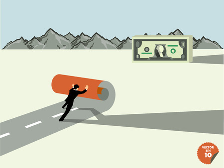 owning: business man create own way to dollar money,business success concept Illustration