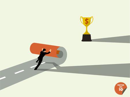 own: business man create own way trophys,business success concept