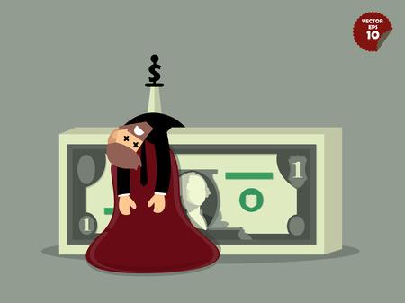 hemorragias: hombre de negocios que fue apuñalado en el dinero en dólares, trabajar concepto difícil