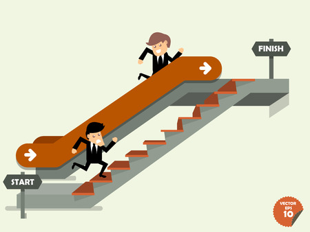 run faster: business man going up to the success way,comparison between business man who going up to escalator to target and another man who is climbing the stairs,success way concept Illustration