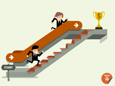 another way: business man going up to the success way,comparison between business man who going up to escalator to trophy and another man who is climbing the stairs,success way concept