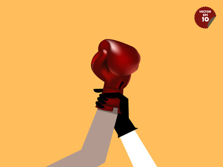 declare: referee declaring the boxing winner,winner concept Illustration