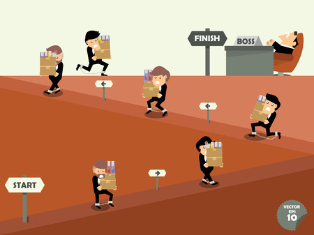 hard: business man hard work,employees working like slaves,employees bear their works to the boss,workaholic concept