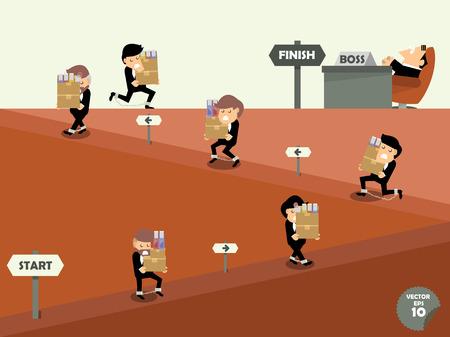 empleados trabajando: hombre de negocios duro trabajo, los empleados que trabajan como esclavos, los empleados llevan sus obras al jefe, concepto adicto al trabajo
