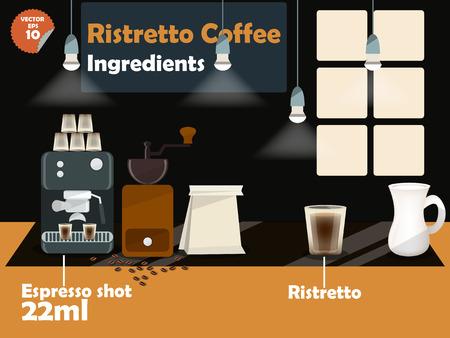 macinino caffè: progettazione grafica di ricette di caff� ristretto, informazioni grafiche di ingredienti caff� ristretto, raccolta di macchina per il caff�, macinino da caff�, latte, caff� espresso girato per fare una grande tazza di caff�.