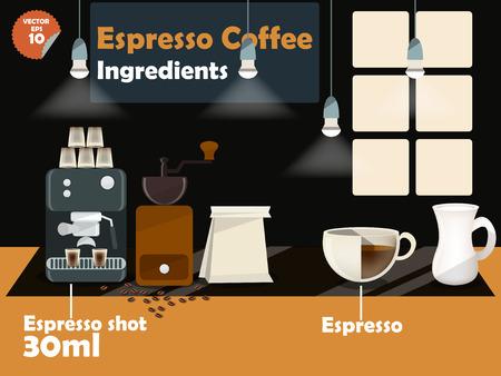 macinino caffè: progettazione grafica di ricette di caff� espresso, informazioni grafiche di ingredienti caff� espresso, illustrazione raccolta di macchina per il caff�, macinino da caff�, latte, caff� espresso girato per fare una grande tazza di caff�. Vettoriali