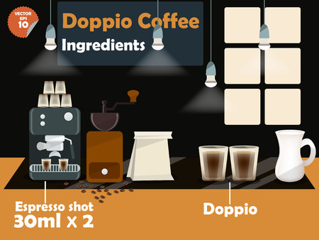 macinino caffè: progettazione grafica di ricette di caff� doppio, informazioni grafiche di ingredienti caff� doppio, illustrazione raccolta di macchina per il caff�, macinino da caff�, latte, caff� espresso girato per fare una grande tazza di caff�.