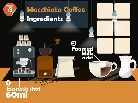 macinino caffè: progettazione grafica di ricette di caff� macchiato, informazioni grafiche di ingredienti caff� macchiato, raccolta di macchina per il caff�, macinino da caff�, latte, caff� espresso girato per fare una grande tazza di caff�.