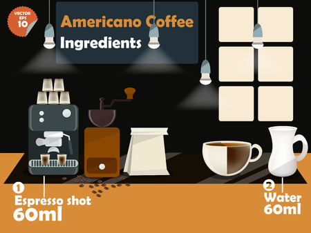 americano: graphics design of americano coffee recipes, info graphics of americano coffee ingredients, collection of coffee machine,coffee grinder, milk, espresso shot for making a great cup of coffee. Illustration